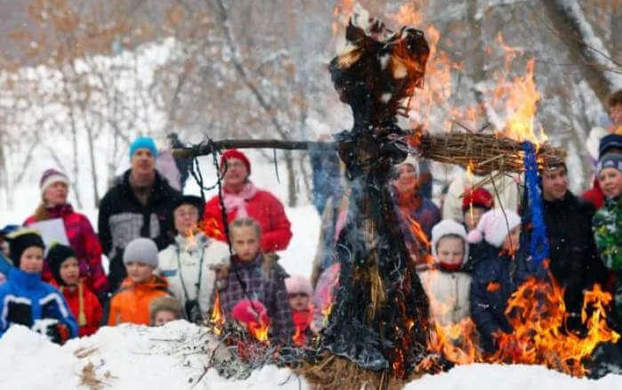сжигание чучела в детском саду на масленицу